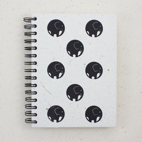 Large Notebook Circles Print Natural White