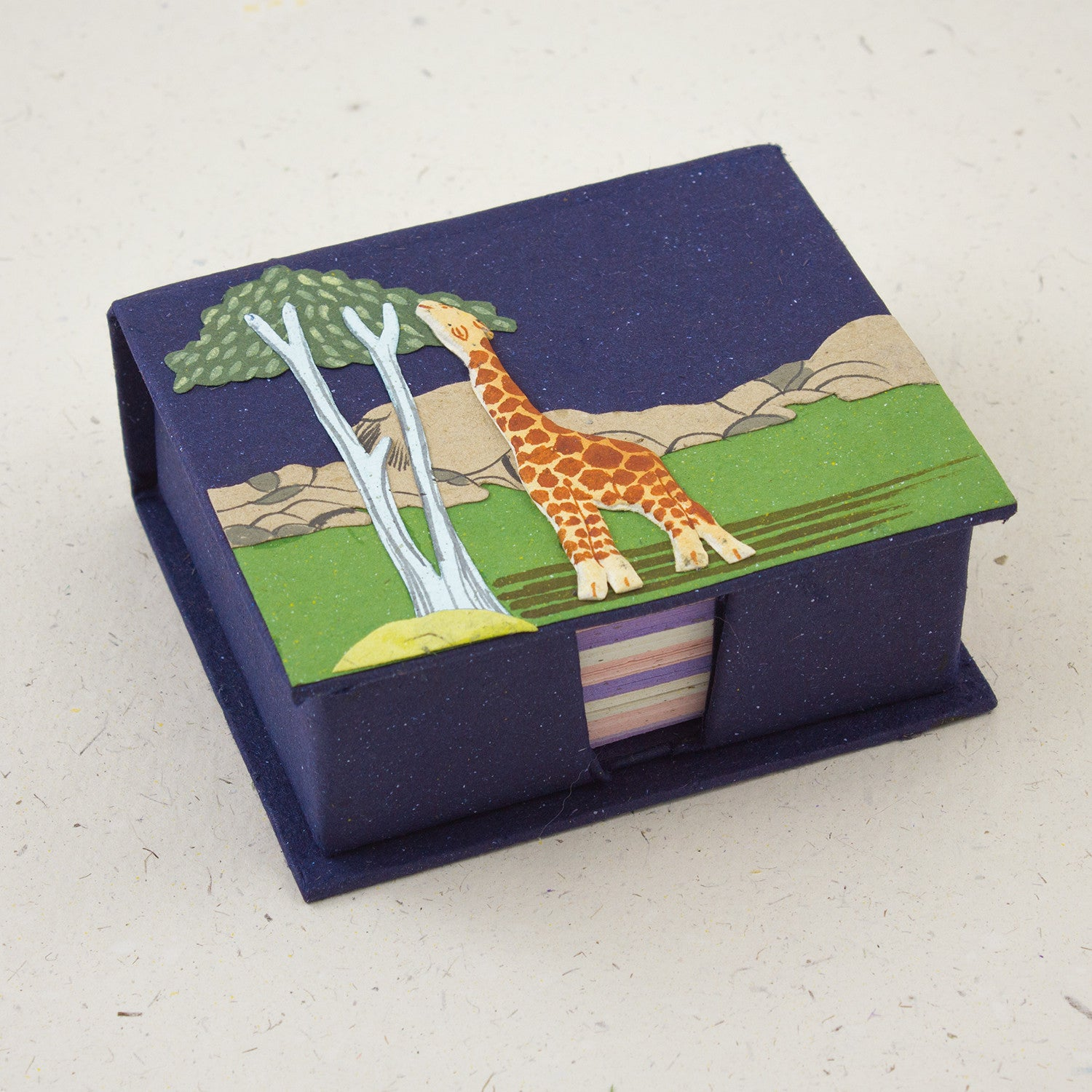 Note Box Giraffe Dark Blue