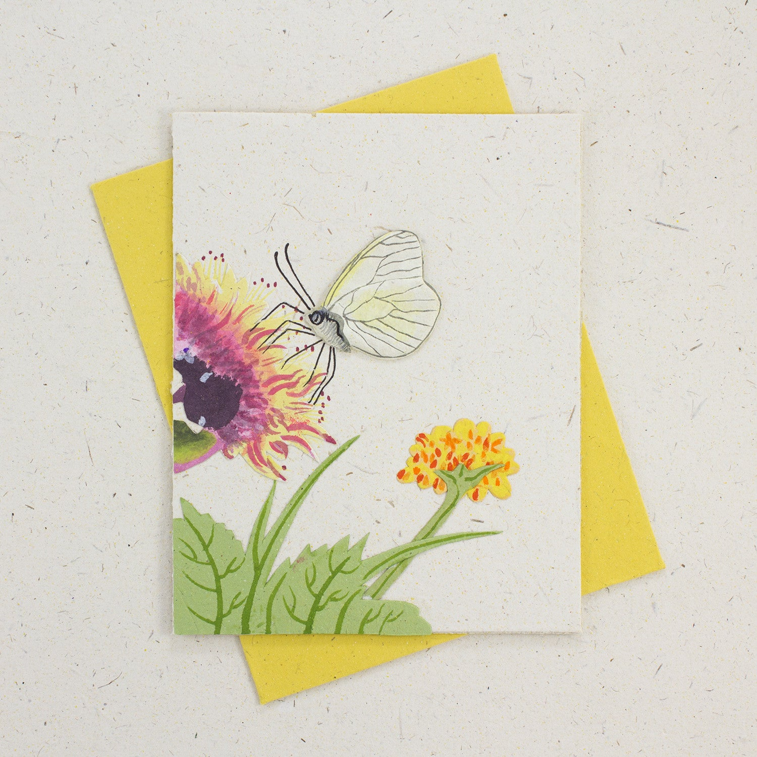 Single Greeting Card Butterfly Natural White