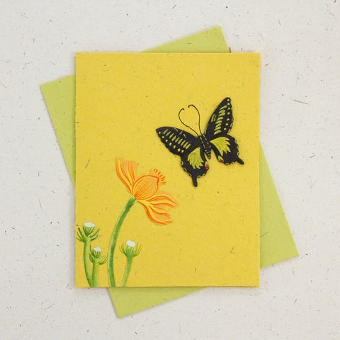 Single Greeting Card Butterfly Yellow