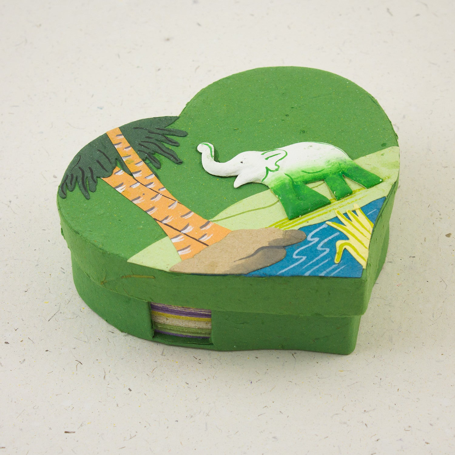 Heart Shaped Note Box Elephant Dark Green