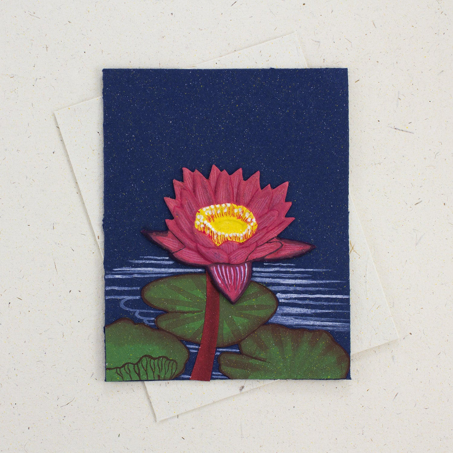Single Greeting Card Lotus Flower Dark Blue