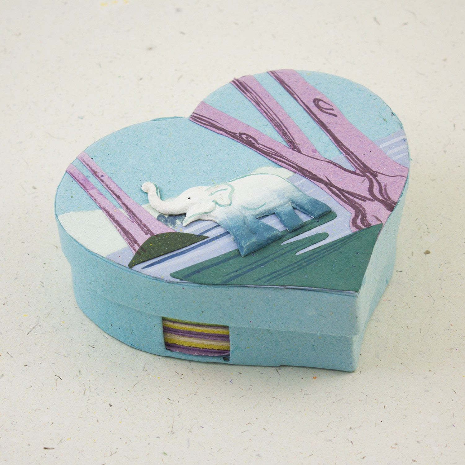 Heart Shaped Note Box Elephant Robin's Egg Blue