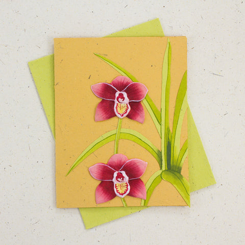Single Greeting Card Sweet Orchid Flower Yellow