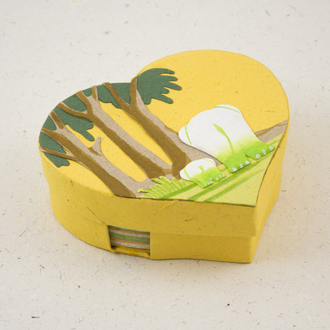 Heart Shaped Note Box Elephants Yellow