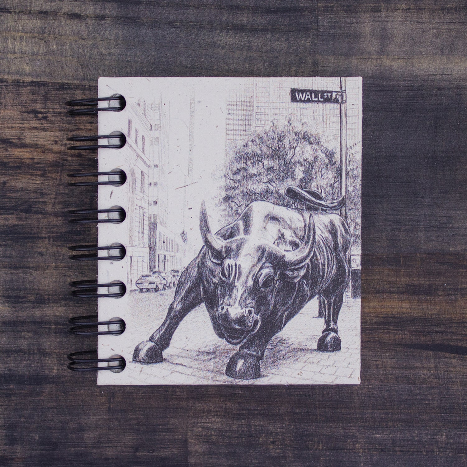 Small Notebook Wall Street Bull Sketch Natural White