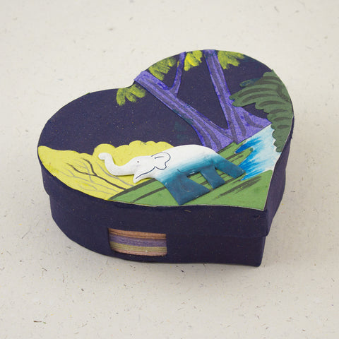 Heart Shaped Note Box Elephant Dark Blue