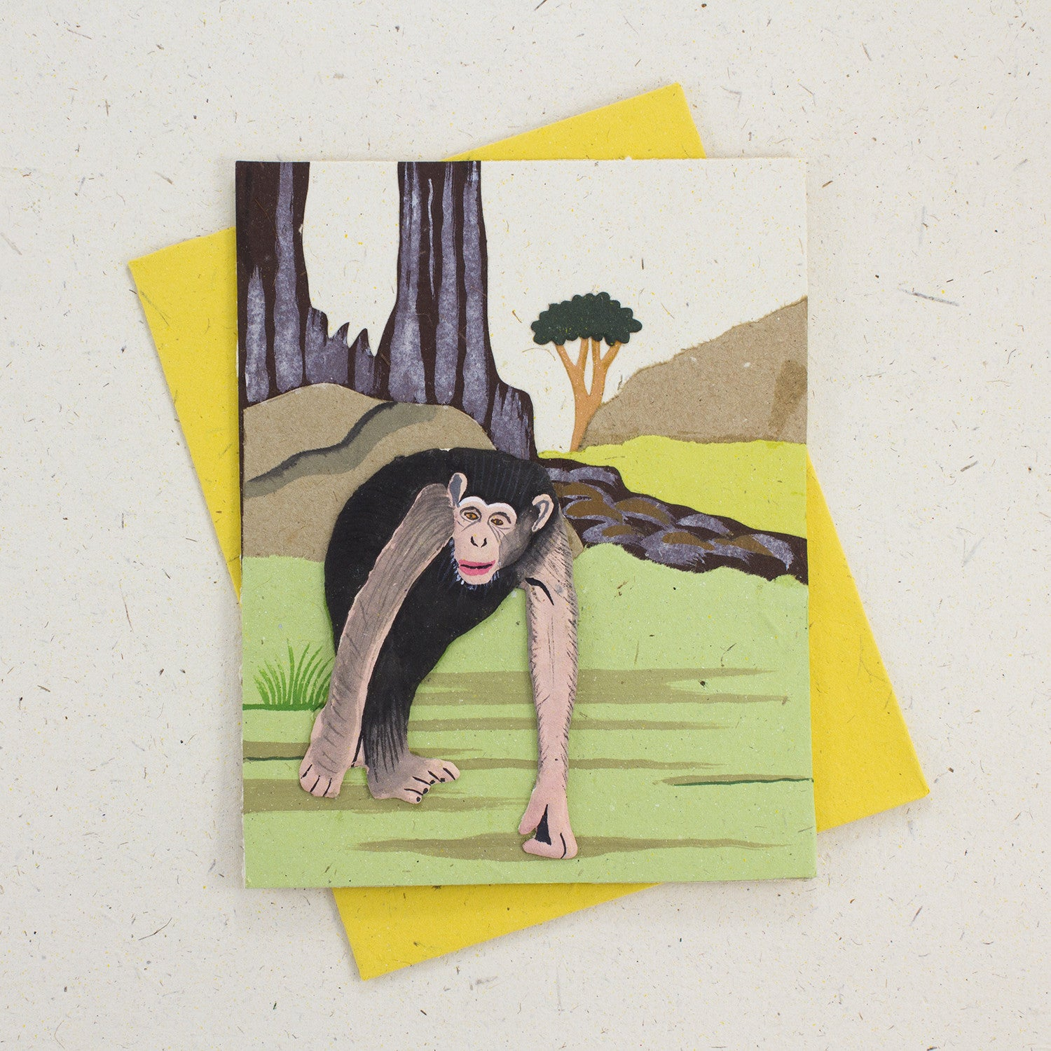 Single Greeting Card Chimpanzee Natural White