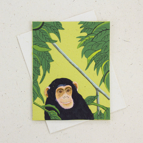 Single Greeting Card Chimpanzee Light Green
