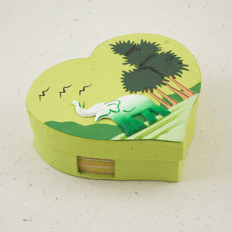 Heart Shaped Note Box Elephant Light Green