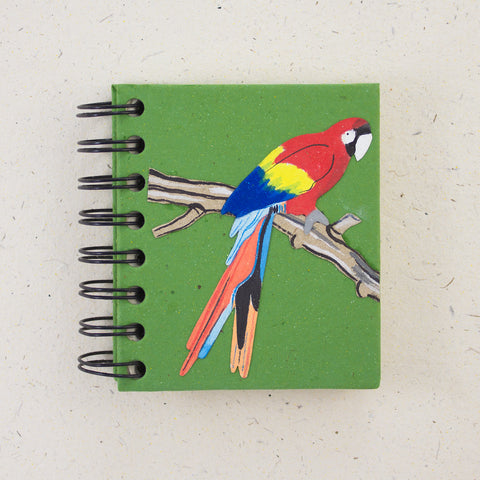 Small Notebook Scarlet Macaw Parrot Dark Green