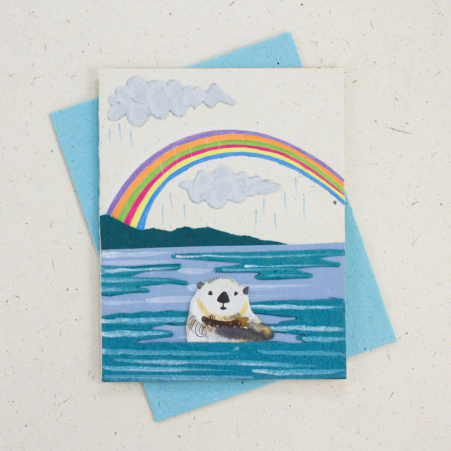 Single Greeting Card Sea Otter Natural White