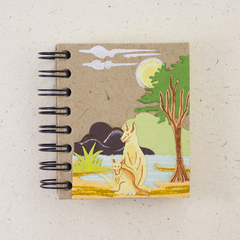 Small Notebook Kangaroo and Joey Natural Kraft