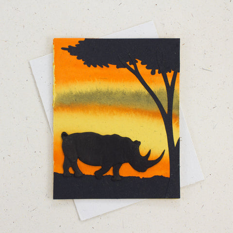 Single Greeting Card Rhino Yellow