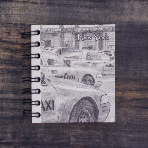 Small Notebook NYC Taxis Sketch Natural White