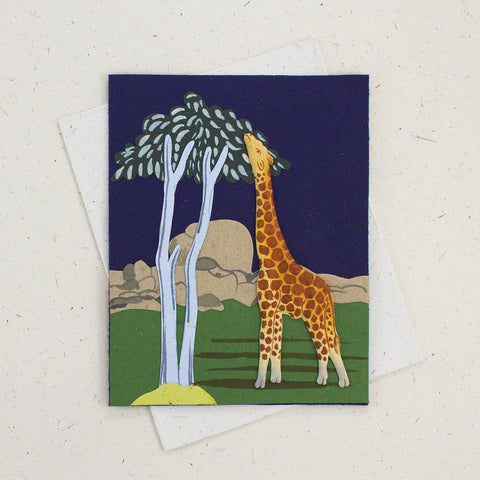 Single Greeting Card Giraffe Dark Blue