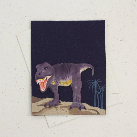 Single Greeting Card T-Rex Dark Blue