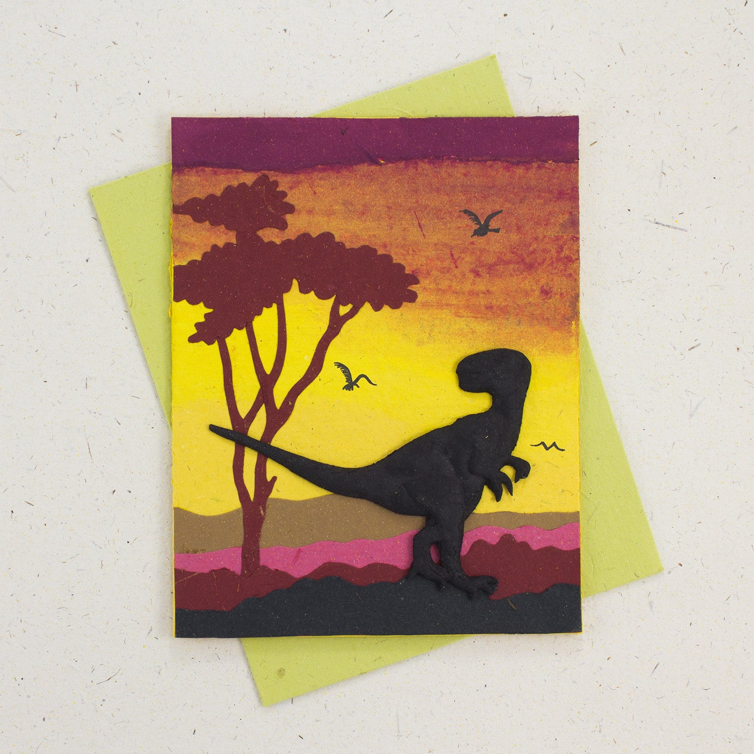 Single Greeting Card T-Rex Yellow