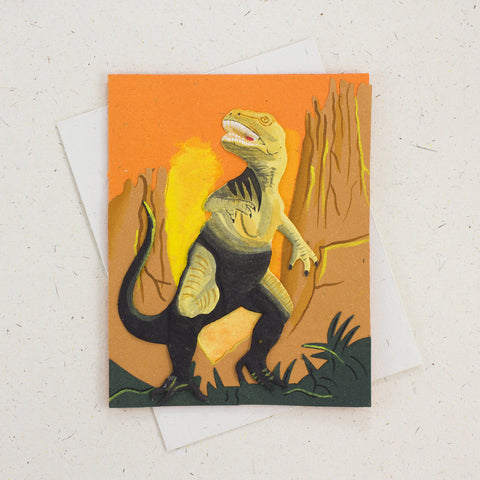 Single Greeting Card T-Rex Orange