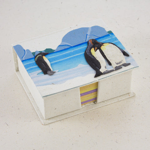 Note Box Penguins Natural White