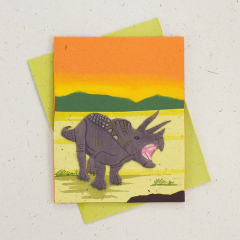 Single Greeting Card Triceratops Orange