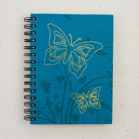 Large Notebook Foiled Butterfly Turquoise