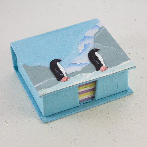 Note Box Penguins Robin's Egg Blue