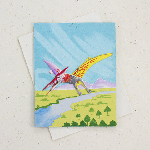 Single Greeting Card Pterodactyl Robin's Egg Blue