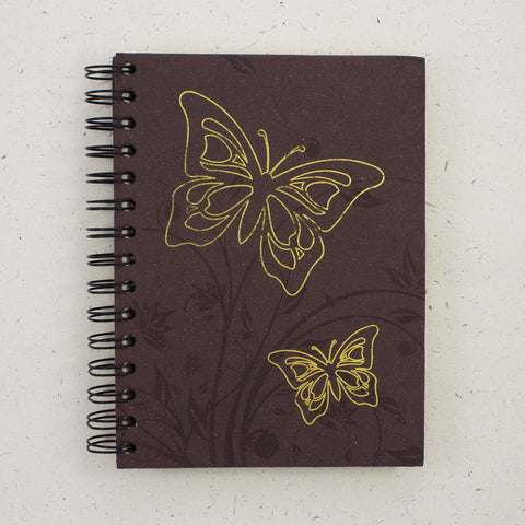 Large Notebook Foiled Butterfly Brown