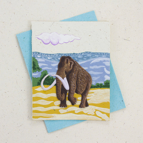 Single Greeting Card Woolly Mammoth Natural White