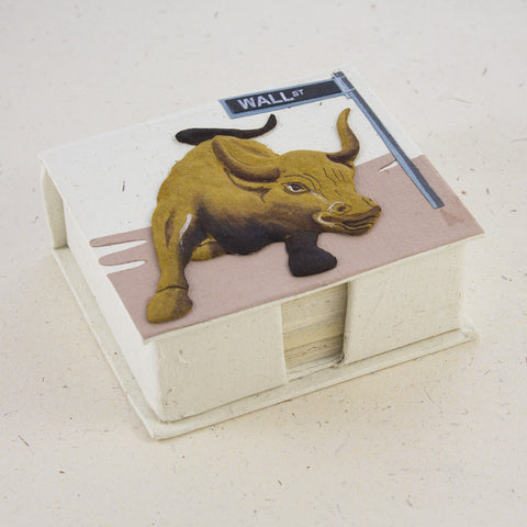 Note Box Wall Street Bull Natural White