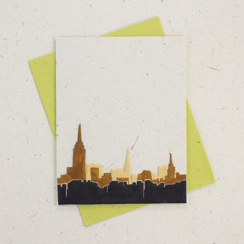 Single Greeting Card NYC Skyline Natural White