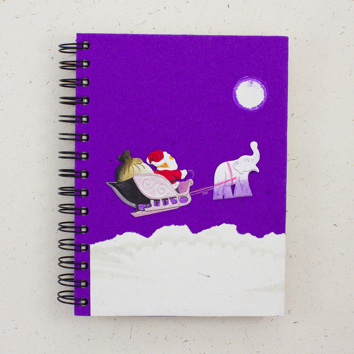 Large Notebook Holiday Santa Dark Purple