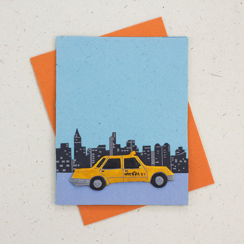 Single Greeting Card NYC Taxi Robin's Egg Blue