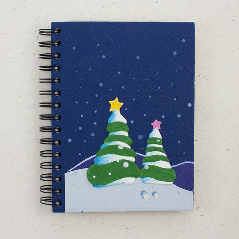 Large Notebook Holiday Trees Dark Blue