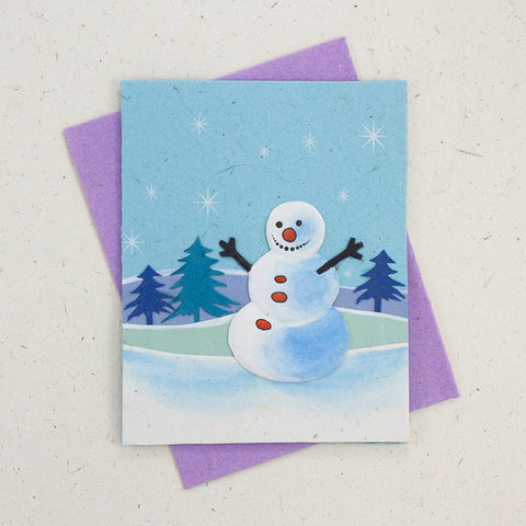 Single Greeting Card Curry the Snowman Robin's Egg Blue