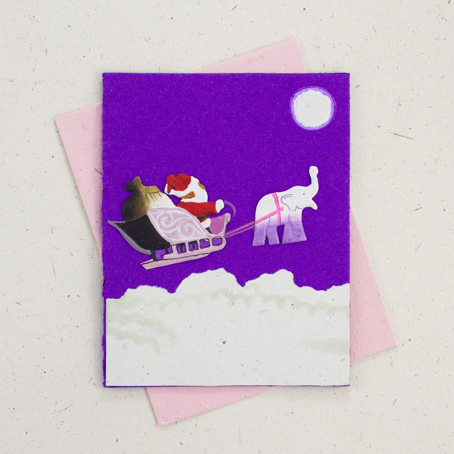 Single Greeting Card Holiday Santa Dark Purple