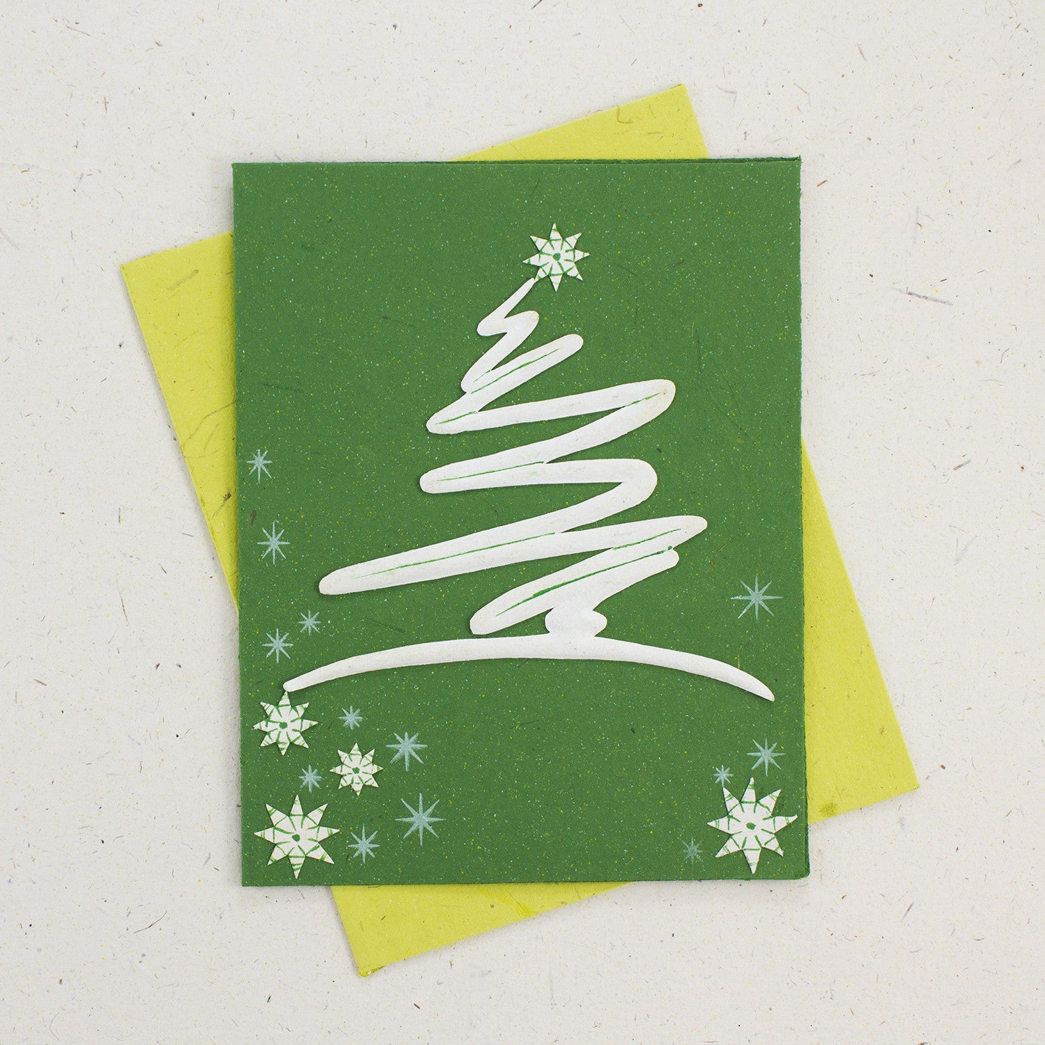 Single Greeting Card Modern Tree Dark Green