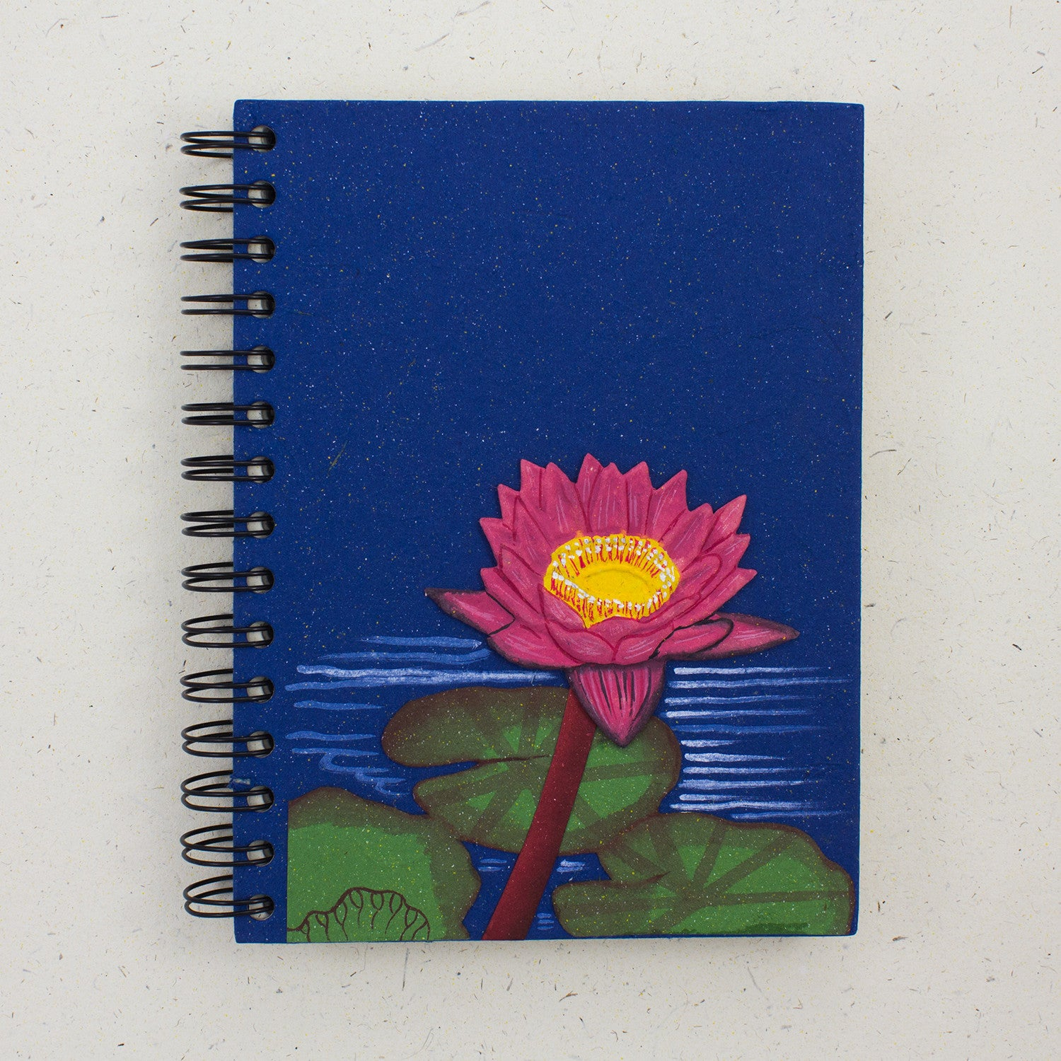 Large Notebook Lotus Flower Dark Blue