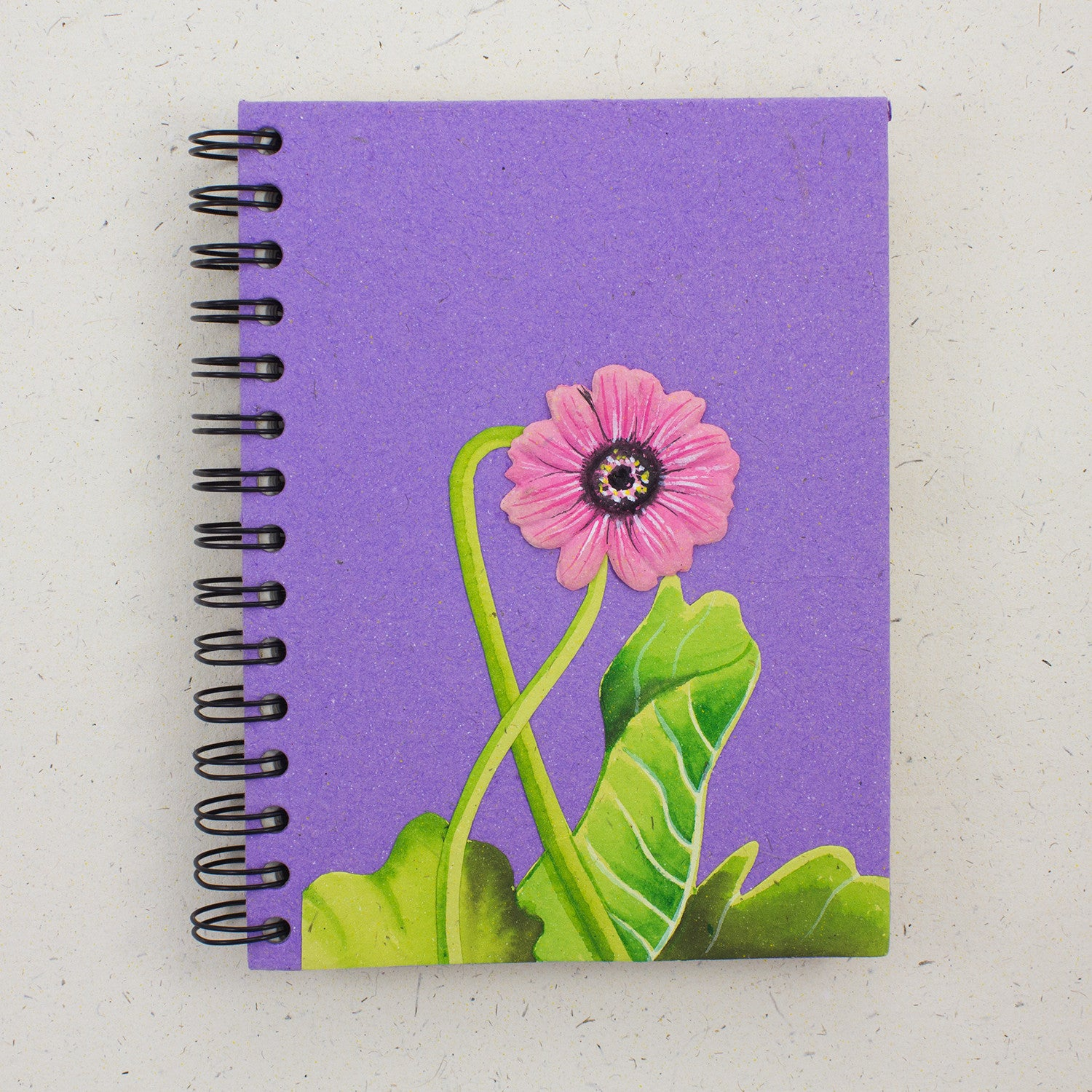 Large Notebook Pink Daisy Flower Purple