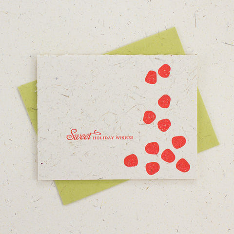 Letter Press Card Set Sweet Holiday Wishes (4pc)