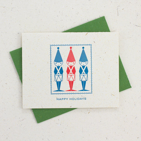 Letter Press Card Set Happy Holidays (4pc)