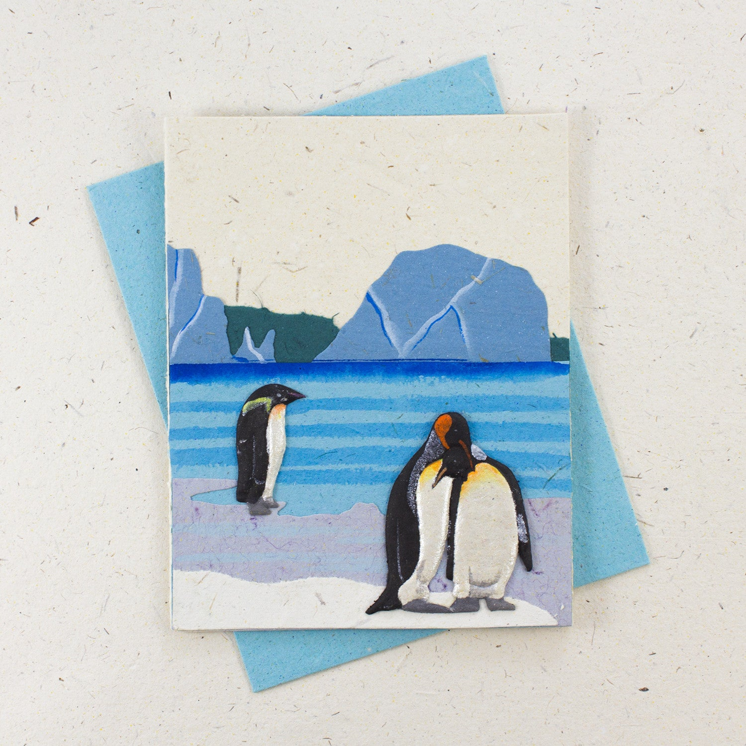 Single Greeting Card Penguins Natural White