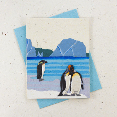 Single Greeting Card Penguin Natural White