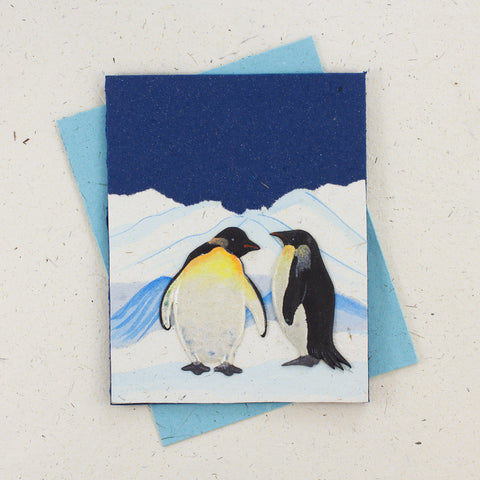 Single Greeting Card Penguin Dark Blue