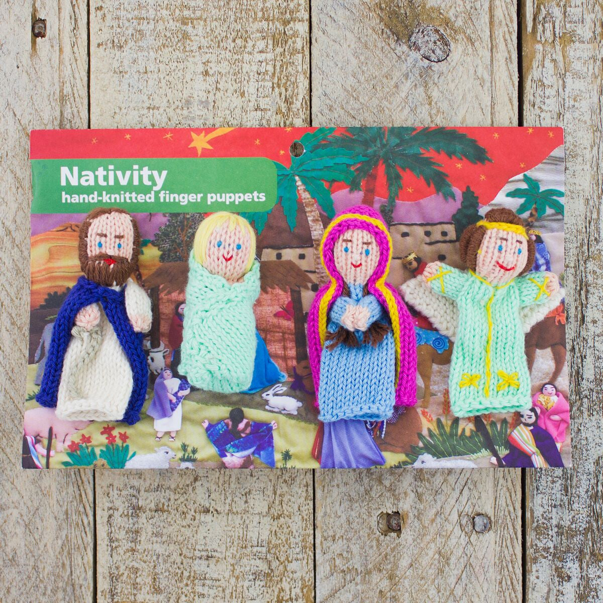 Hand-Knit Finger Puppets Nativity (4pc)