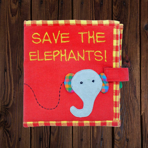 Fabric Kids Book - Save The Elephants