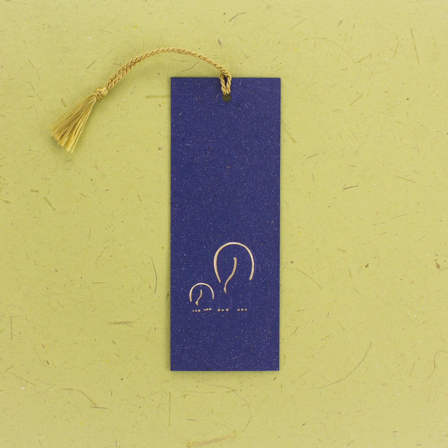 Elephant Dung Paper Bookmark Blue with Tassle