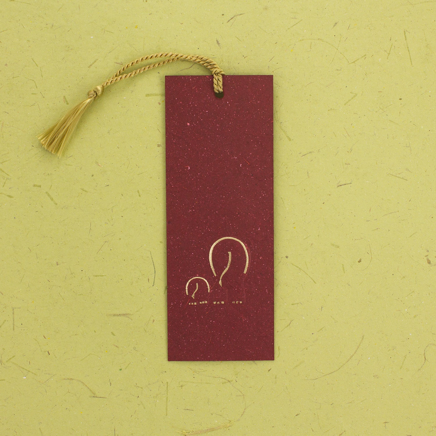 Elephant Dung Paper Bookmark Maroon With Tassle