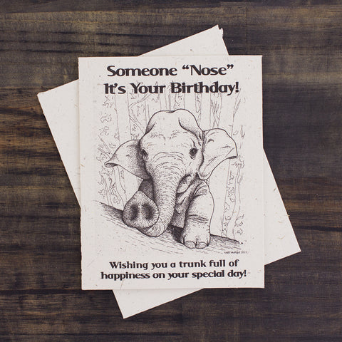 Single Greeting Card Baby Elephant Birthday Sketch